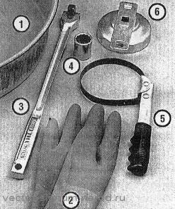 инструменты для замены масла и масляного фильтра